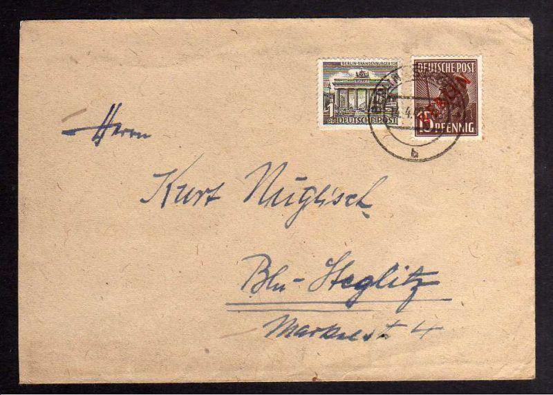 B1237 Brief Westberlin 25 Rotaufdruck + 42 1 Pfg. Brandenburger Tor Berlin Stegl