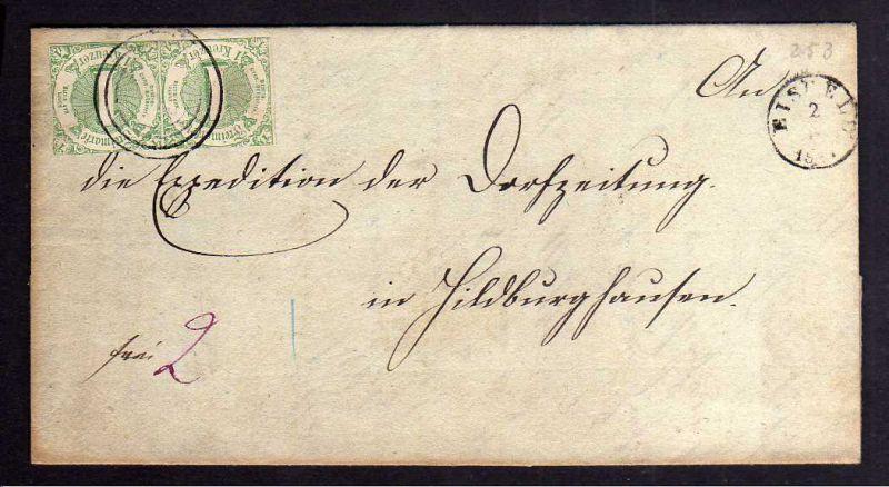 B118 Faltbrief  Thurn und Taxis 20 Eisfeld 1863 nach Hildburghausen Durchgangsst