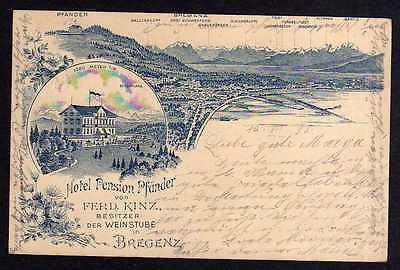 Ansichtskarte Bregenz Vorarlberg 1898 Hotel pension Pfänder Weinstube