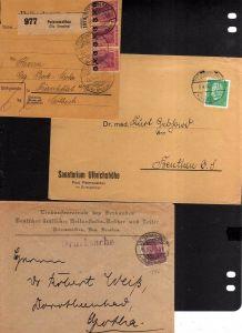 v138 Peterswaldau Bz. Breslau 3 Belege Paketkarte 1922 6x155 MeF Brief Einkaufsz