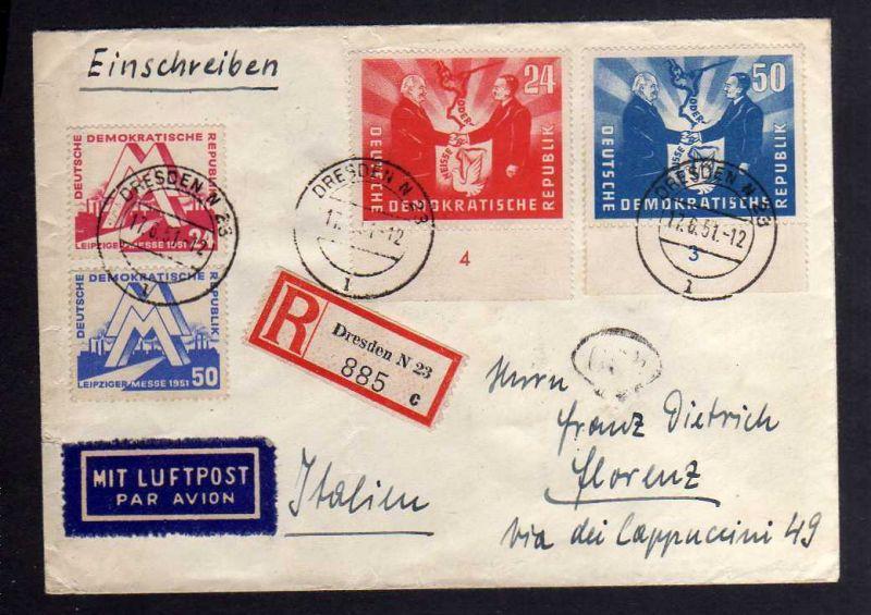 B1256 DDR 1951 282 - 283 284 - 285 Satzbrief Messe Deutsch-polnische Freundschaf