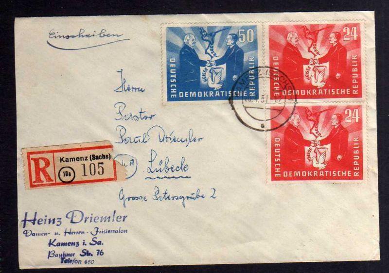 B1257 DDR 1951 Deutsch-polnische Freundschaft 284 285 Einschreiben nach Lübeck