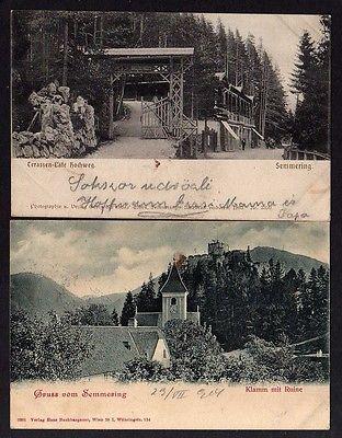 2 Ansichtskarte Semmering Niederösterreich Terassen Cafe Hochweg 1906 Klamm Ruine 190