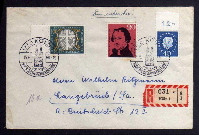 B1244 BRD 305 Oberrand Bogenmarke 40 Pfennig Heuss auf Einschreiben R-Brief