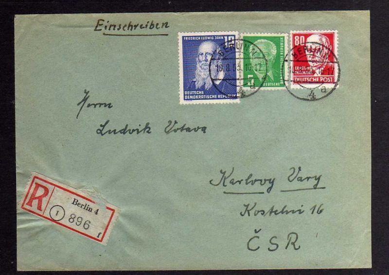 B1276 DDR 1953 Einschreiben Köpfe II 1953 340 vXI Berlin nach Karlovy Vary CSR
