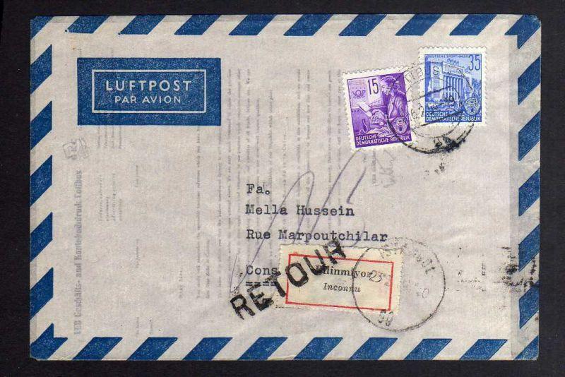 B1261 DDR 1953 Luftpost Brief FJP 368 374 nach Constantinopel Türkei