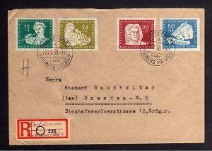 B1252 DDR 1950 256 - 259 200. Todestag von Johann Sebastian Bach Satzbrief Einsc
