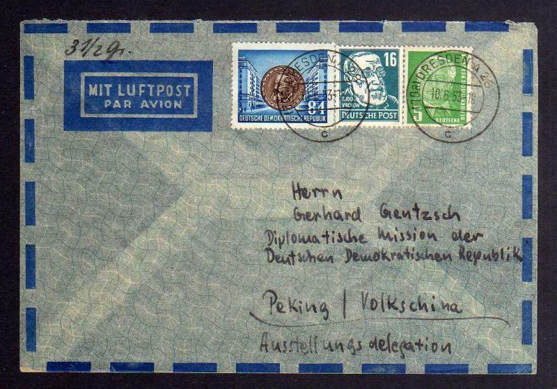 B1277 DDR Köpfe II 1953 Luftpost nach Peking China Ausstellungsdelegation