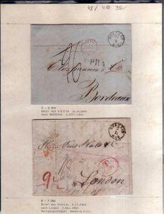 v048 aus Stettin Sammlung 4 Briefe 1842 1844 nach Bordeaux London Brietzig bei