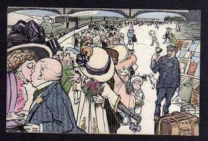 Ansichtskarte Künstlerkarte Chemnitz 1909 Bahnhof Abschied