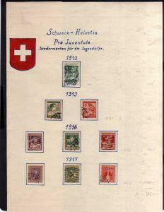 Schweiz 1913 - 1918 Pro Juventute gestempelt Mi. 390.--