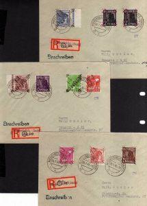 h1183 6 Briefe Handstempel Bezirk 14 Niedersedlitz EInschreiben 16 Werte Satz au