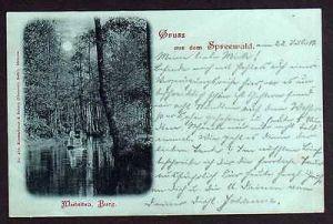 Ansichtskarte Spreewald 1902 Mutnitza Burg Kahn Mondscheinkarte