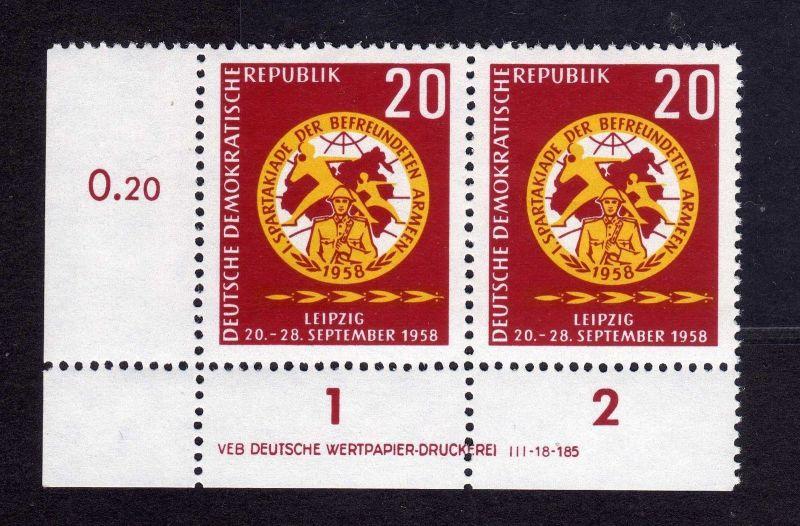 DDR 1958 658 Spartakiade der befreundeten Armeen R 1-2 ** DV ungefalten nich