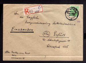 h1627 Handstempel Bezirk 16 Gera 84 Pfg nach Erfurt Einschreiben 26.6.48 gepr. D