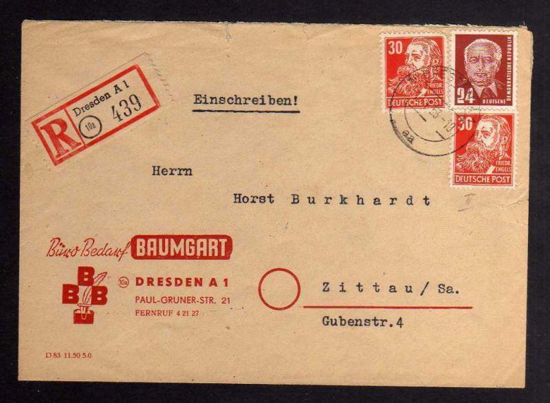 B1279 DDR 1952 Köpfe II 335 za XI Bedarf Einschreiben Dresden nach Zittau