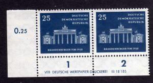 DDR 1958 666 Brandenburger Tor R 1-2 ** DV ungefalten nicht angetrennt