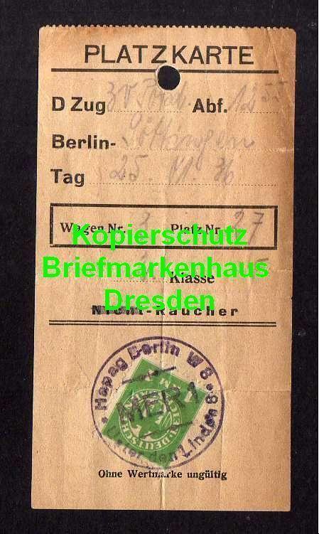 Platzkarte D-Zug Berlin - Göttingen 1925 mit Wertmarke HAPAG DEutsche Rei