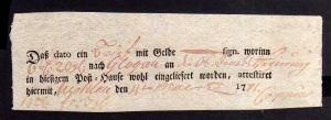 v259 Wohlau 1771 Einlieferungsschein Geld Brief nach Glogau