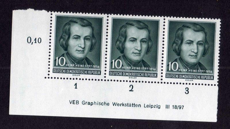 DDR 1956 516 Heinrich Heine R 1-3 ** DV nicht angetrennt  unten ndgz links 1
