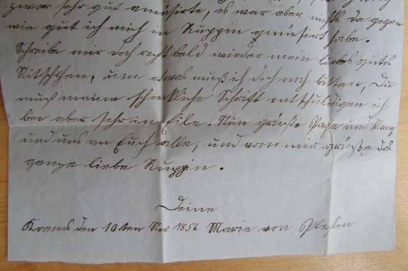 v844 Faltbrief Kyritz 1856 nach Rüggin an Anna von Plesten