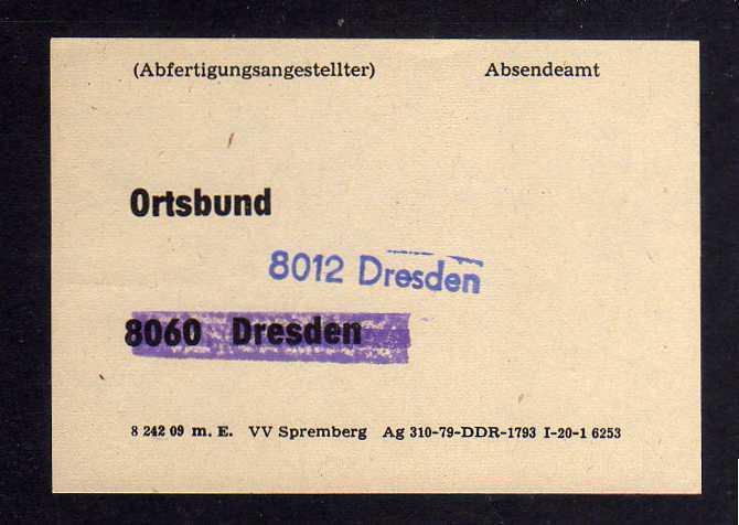 B1264 DDR um 1980 Ortsbund 8060 Dresden überbalkt 8012 Dresden neu gestempelt