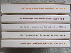 DDR Jahressammlung 1986 - 1990 5 Bände gestempelt mit Ganzsachen