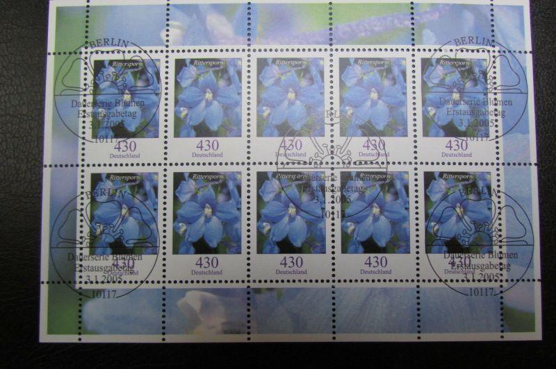 Dauerserie Blumen 410 Rittersporn 2435 Zehnerbogen gemischt postfrisch gestempel