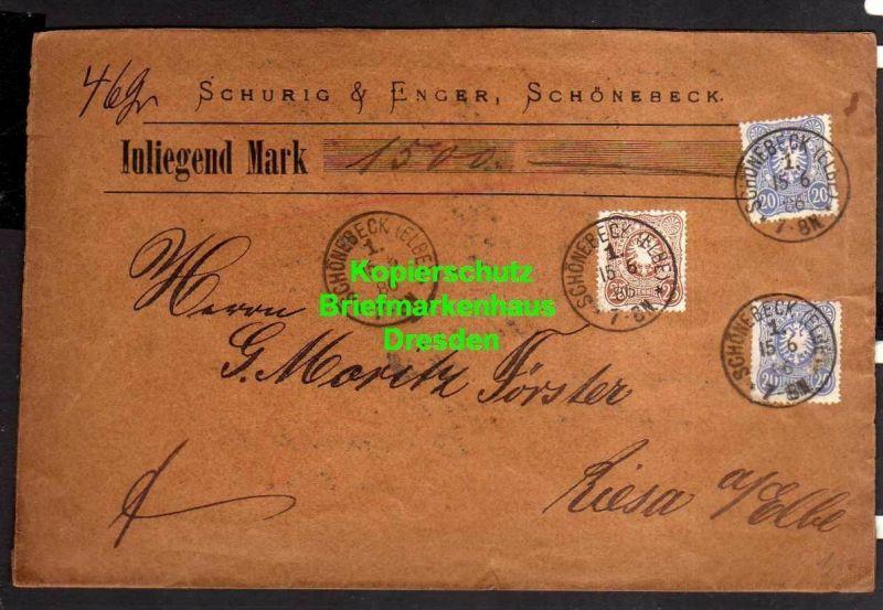 v840 Schönebeck 1886 Wertbrief 1500 Mark DR 2x 42 u. 43 Firma Schurig & Enger