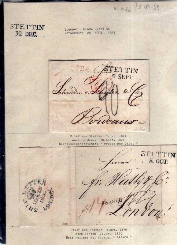V022 aus Stettin Sammlung 5 Briefe 1824 - 1831 Ship Letter London Bordeaux