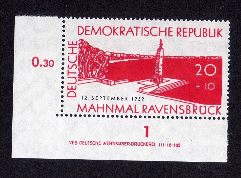 DDR 1959 720 Ravensbrück R 1 ** DV links u. unten ndgz ungefalten nicht ange