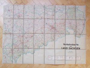 Landkarte Land Sachsen um 1950 Sachsenverlag Dresden um 1950 noch ohne Autobahn