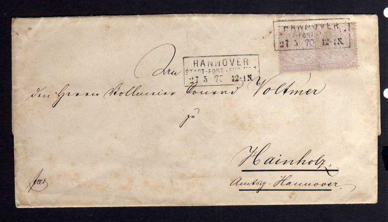 B121 Faltbrief NDP Norddeutscher Bund 2x 13 Hannover Stadt Post Exp. No. 1 1870