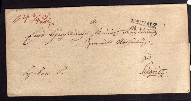 V199 Neusalz Schlesien Faltbrief um 1840