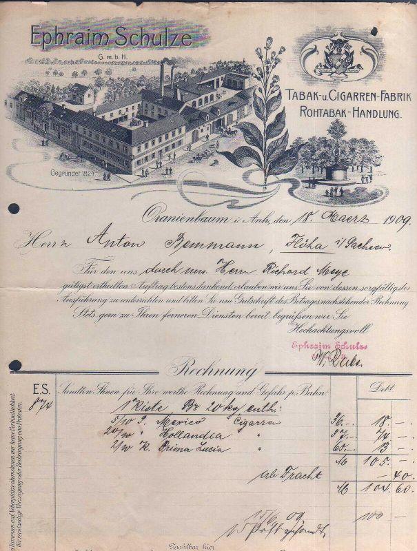 v526 Briefbogen Firmenrechnung Oranienbaum 1909 Ephraim Schulze Fabrikansicht Ta