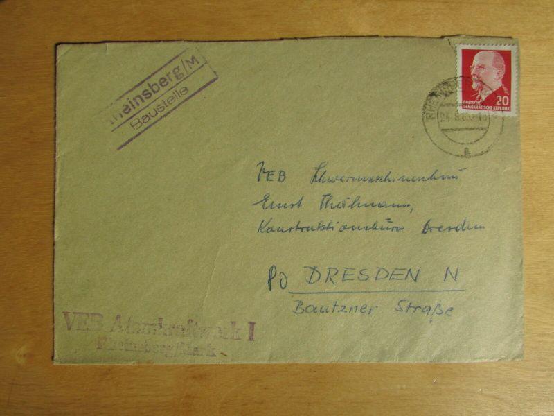 DDR seltener Brief Landpoststempel Rheinsberg Baustelle VEB Atomkraftwerk 1965