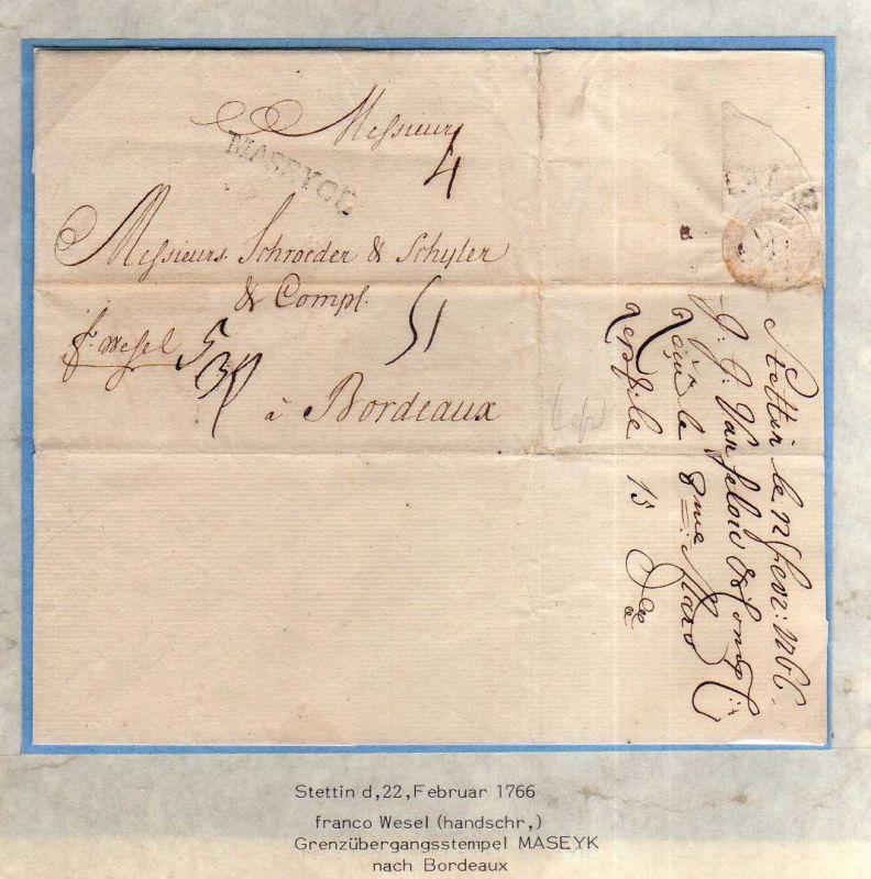 V008 aus Stettin Sammlung Brief Dokument Siegel 1766 Frankreich Bordeaux Grenzüb