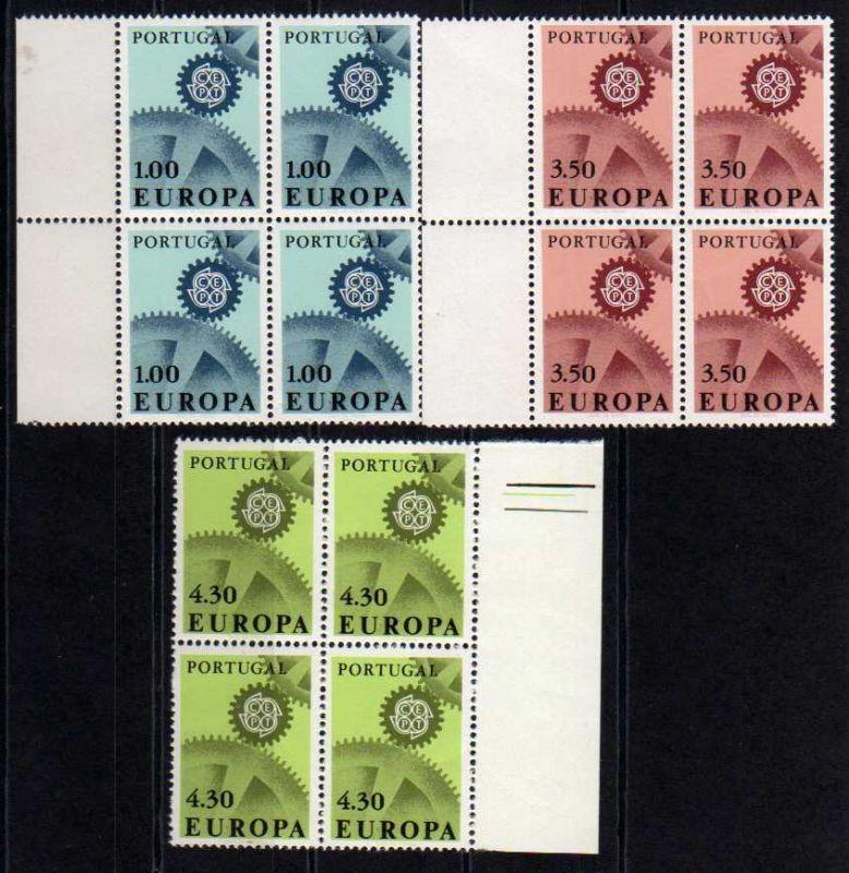 Portugal Europa Cept 1967 1026 - 1928 Viererblock ** postfrisch