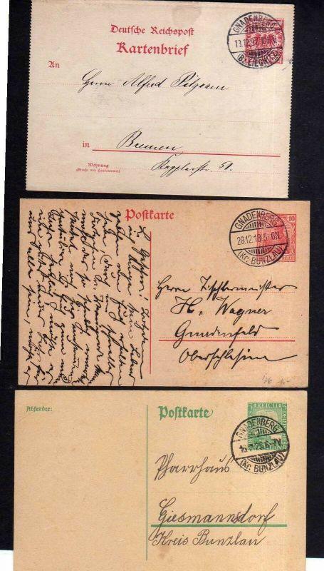 v187 Gnadenberg Kr. Bunzlau GS Kartenbrief 1897 Postkarte 1918 1925