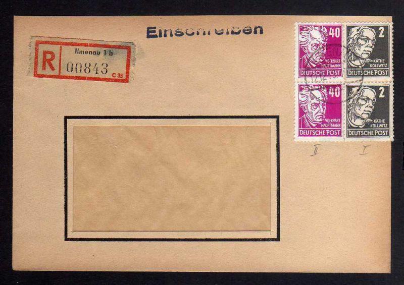 B1275 DDR 1953 Einschreiben Köpfe II 1953 336 vXI Ilmenau nach Leipzig
