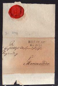 leere Faltbriefhülle Breslau 24. Juli um 1840