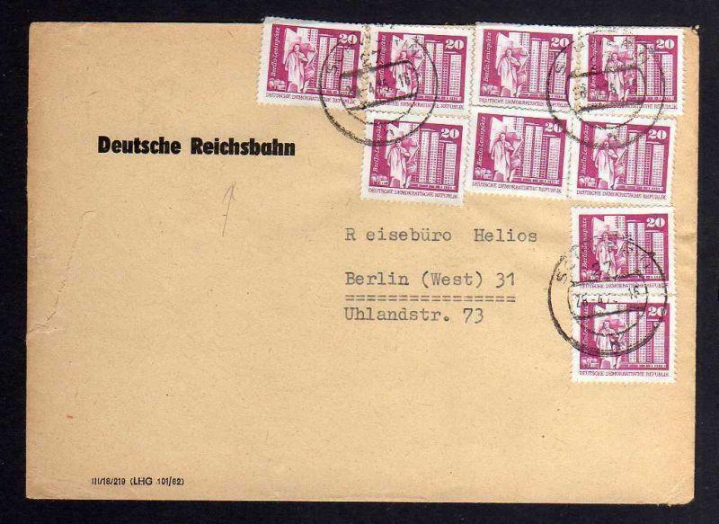 B1267 DDR 1869 Rollenmarken aus Bogen Bedarfsbrief Deutsche Reichsbahn 1975