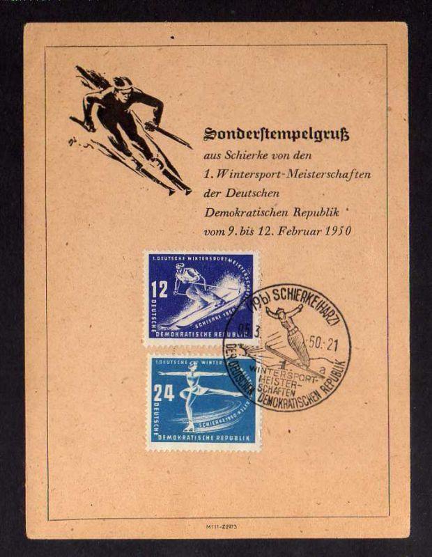 B1250 DDR 1950 246 247 Schierke Sonderstempel a auf Gedenkkarte Wintersportmeist