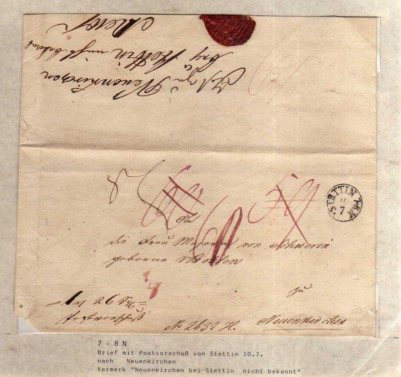 V042 aus Stettin Sammlung Brief um 1830 nach Neuenkrichen Stettin Postvorschuß