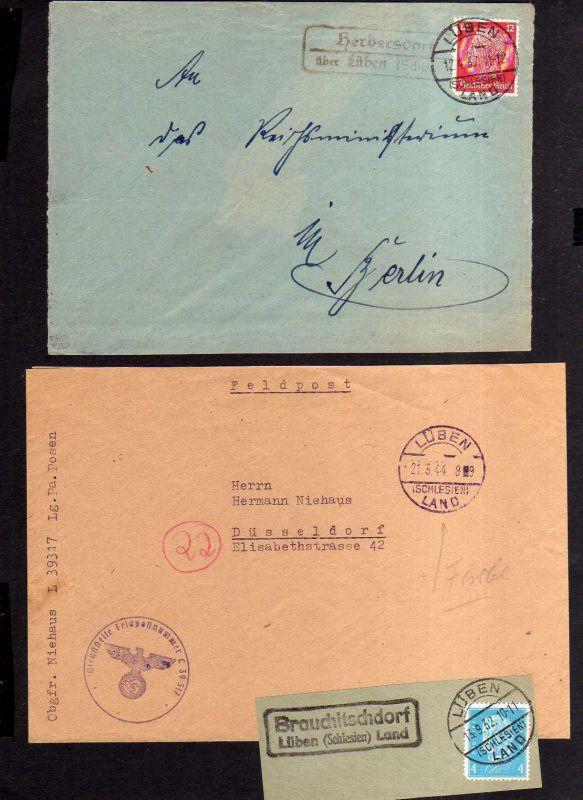 v209 Lüben Herbersdorf 1937 Landpoststempel Feldpost 1944 Brauchitschdorf