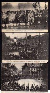 3 Ansichtskarte Straßburg Strasbourg 1918 Defile des Troupes Place de la Cathedrale