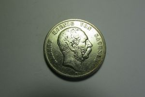 m051 Sachsen 5 Mark 1875 König Albert Silber