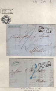 v062 aus Stettin Sammlung 2 Briefe Faltbrief 1850 nach Berlin 1854 Metzenthin &