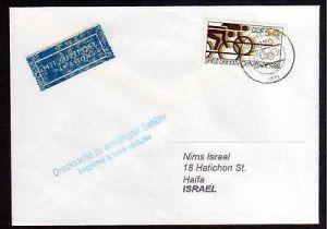 DDR 1988 Einzelfrankatur EF DDR 3188 Luftpost Drucksache nach Israel Olymp
