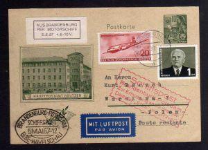 B1249 DDR amtliche Ganzsache per Schiffspost und Luftpost nach Polen SST Elbe Ha